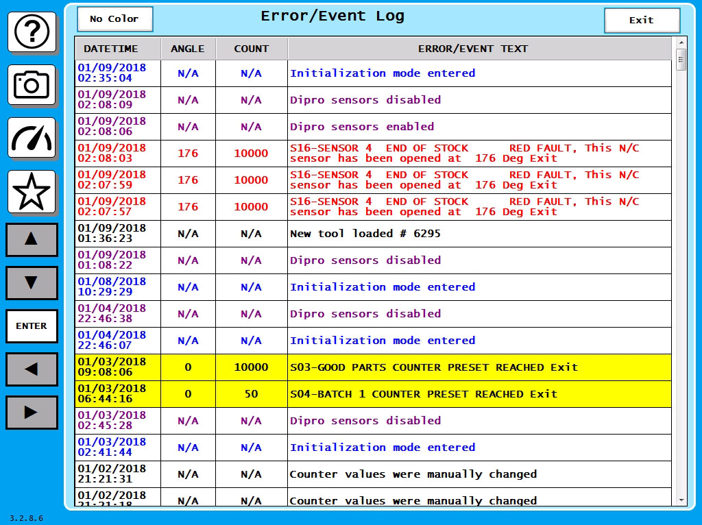 SmartPAC 2 Error/Event Log