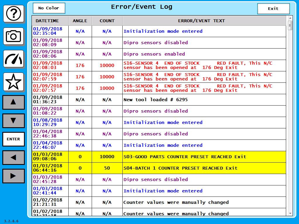 SmartPAC 2 Error/Event Log