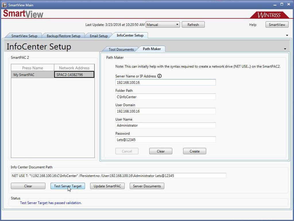 Infocenter pathmaker test
